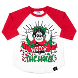 WRECK THE HALLS RED RAGLAN