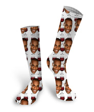 Red Wine Glass Custom Photo Socks, Custom Face Socks, Red Wine Socks