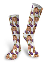 Eggplant Custom Face Socks, Custom photo Socks, Custom Face Socks