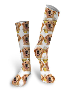 Ice Cream Custom Face Socks, Face Socks, Pup socks, Custom Face Socks