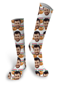 Krispy Kreme Custom Face Socks, Custom Face Socks