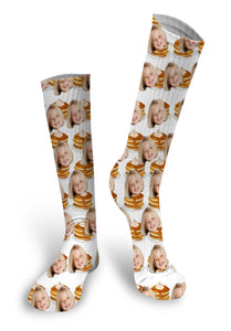 Pancakes Custom Face Socks, Face Socks, Pup socks