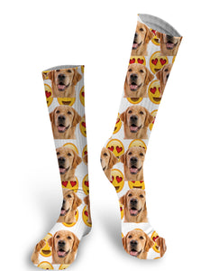Smiley Face Emoji Custom Face Socks, Face Socks, Pup socks