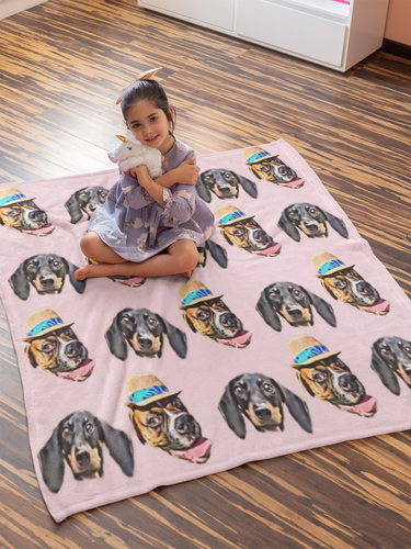 Custom Dog or Cat Face Blanket, Custom Face Blanket, Custom Blanket