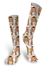 Load image into Gallery viewer, Tennis Custom Face Socks, Face Socks, Pup socks, Put your Face on Socks
