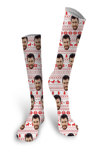 Christmas Custom Face Socks, Custom Face Socks, Put Your Face on Socks, Christmas Socks