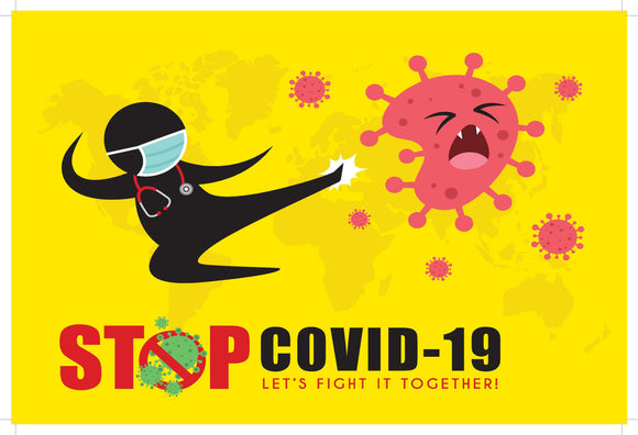 COVID-19 LETS FIGHT IT TOGETHER - 450X300 - 3MM POLYPROPYLENE (PP) BOARD-Signs-RackID Shop