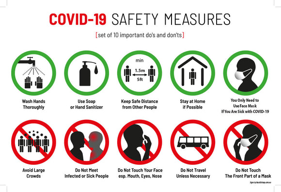 COVID-19 SAFETY MEASURES - 450X300 - 3MM POLYPROPYLENE (PP) BOARD - Signs - RackID Shop