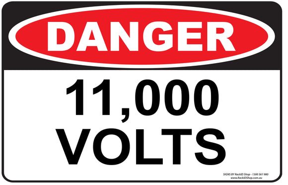11,000 VOLTS OUTDOORS - Signs - RackID Shop