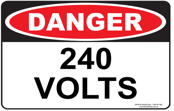 240 VOLTS-Signs-RackID Shop