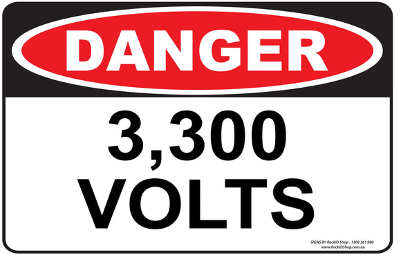 3,300 VOLTS OUTDOORS - Signs - RackID Shop