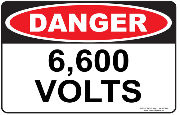 6,600 VOLTS OUTDOORS - Signs - RackID Shop