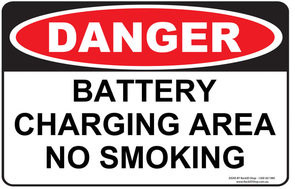 BATTERY CHARGING AREA-Signs-RackID Shop
