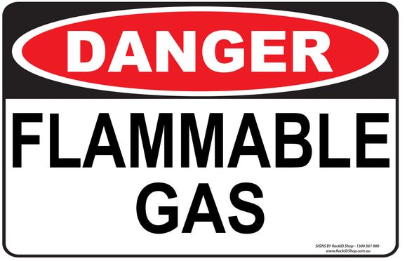 FLAMMABLE GAS OUTDOORS-Signs-RackID Shop