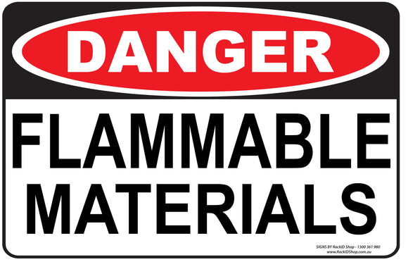 FLAMMABLE MATERIALS OUTDOORS-Signs-RackID Shop