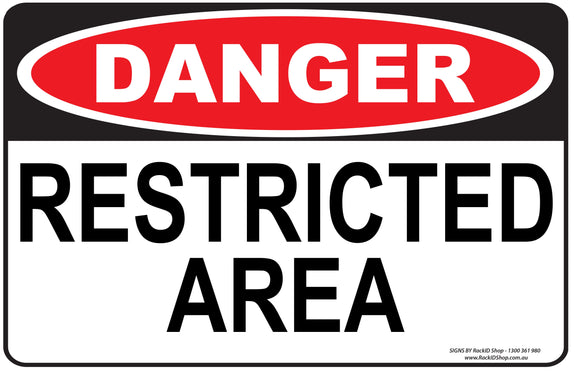 RESTRICED AREA OUTDOORS-Signs-RackID Shop