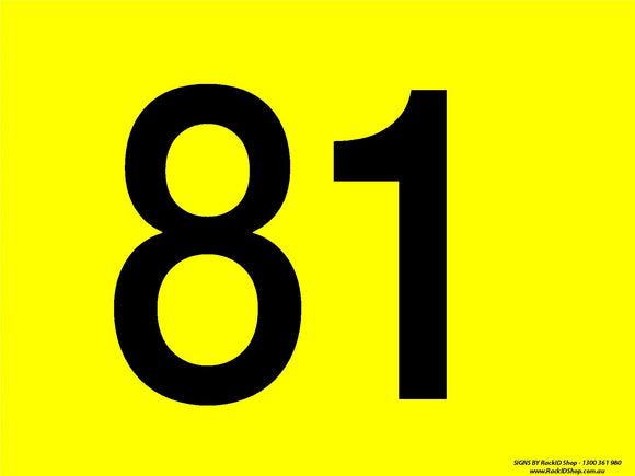 Yellow 81-90 Dock Sign - Signs - RackID Shop