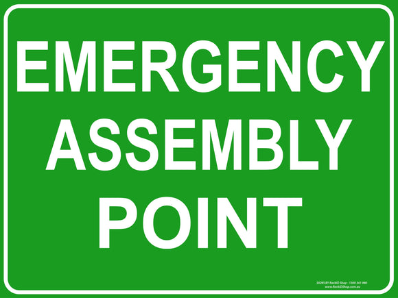 EMERGENCY ASSEMBLY OUTDOORS-Signs-RackID Shop