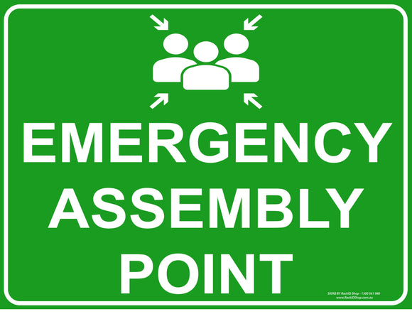 EMERGENCY ASSEMNLE IMAGE OUTDOORS-Signs-RackID Shop