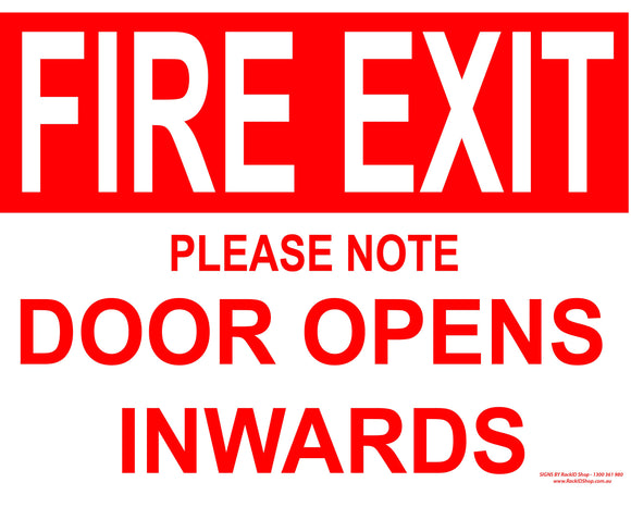 FIRE EXIT DOOR INWARDS-Signs-RackID Shop