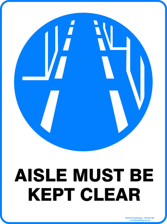 AISLE MUST BE CLEAR OUTDOORS-Signs-RackID Shop