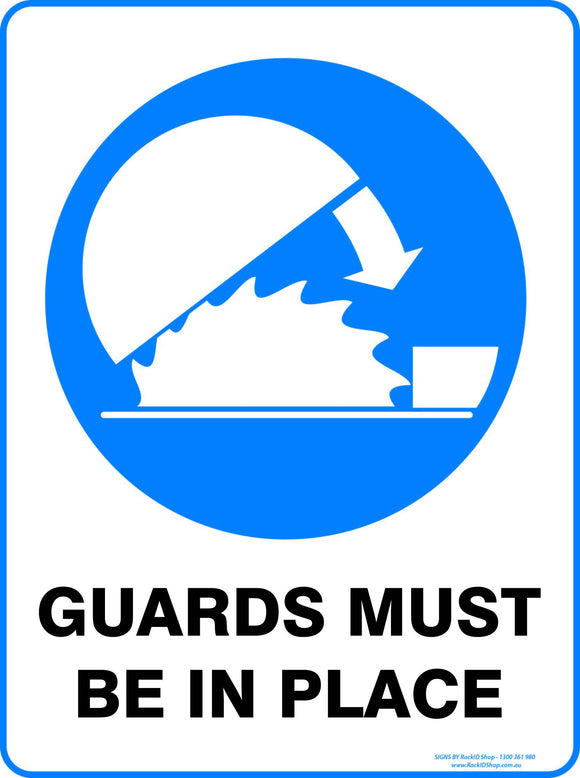 GUARDS MUST BE IN PLACE OUTDOORS-Signs-RackID Shop