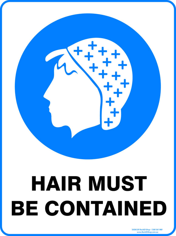 HAIR MUST BE CONTAINED  OUTDOORS - Signs - RackID Shop