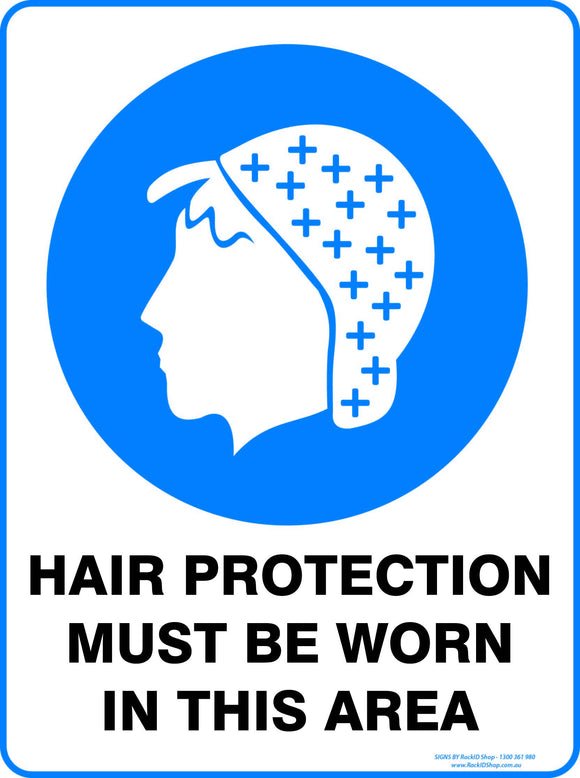 HAIR PROTECTION MUST BE WORN OUTDOORS-Signs-RackID Shop