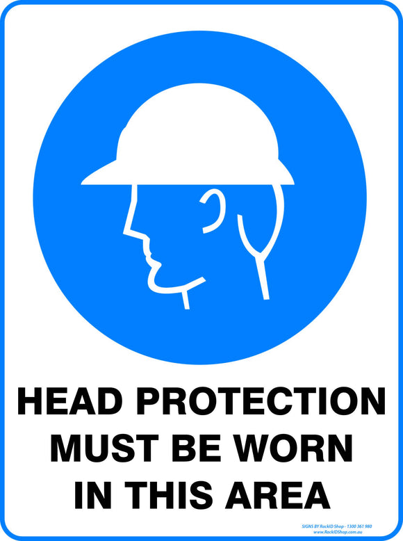 HEAD PROTECTION MUST BE WORN OUTDOORS-Signs-RackID Shop