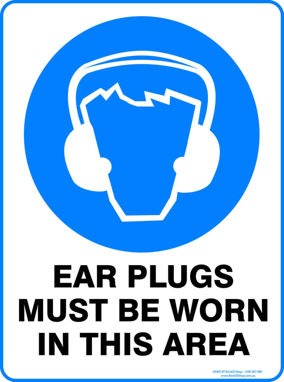 EAR PLUGS MUST BE WORN OUTDOORS - Signs - RackID Shop