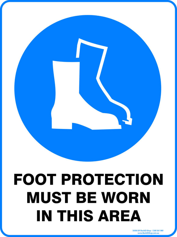 FOOT PROTECTION MUST BE WORN OUTDOORS-Signs-RackID Shop