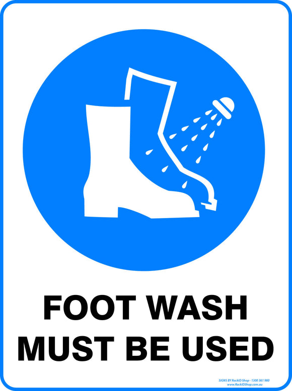FOOT WASH MUST BE USED-Signs-RackID Shop