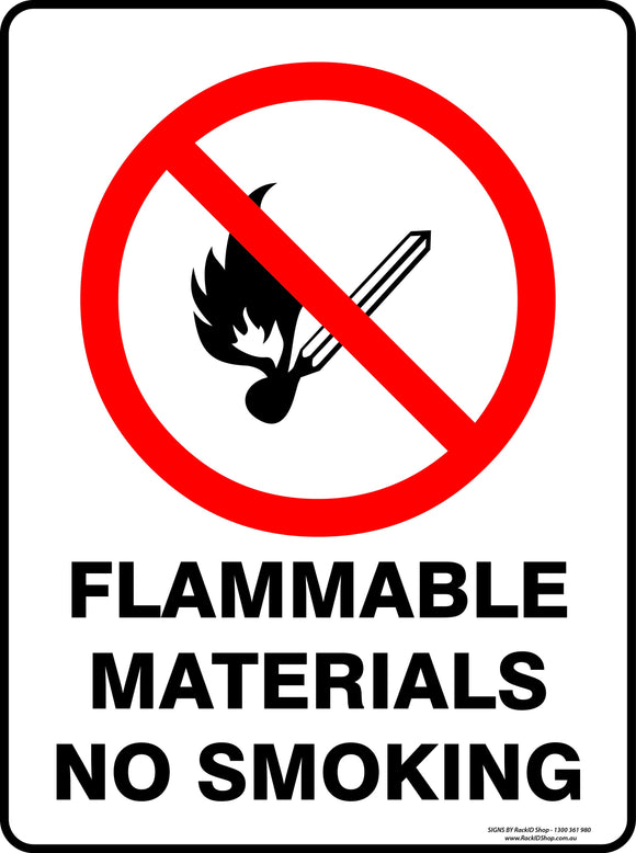 FLAMMABLE MATERIALS NO SMOKING-Signs-RackID Shop