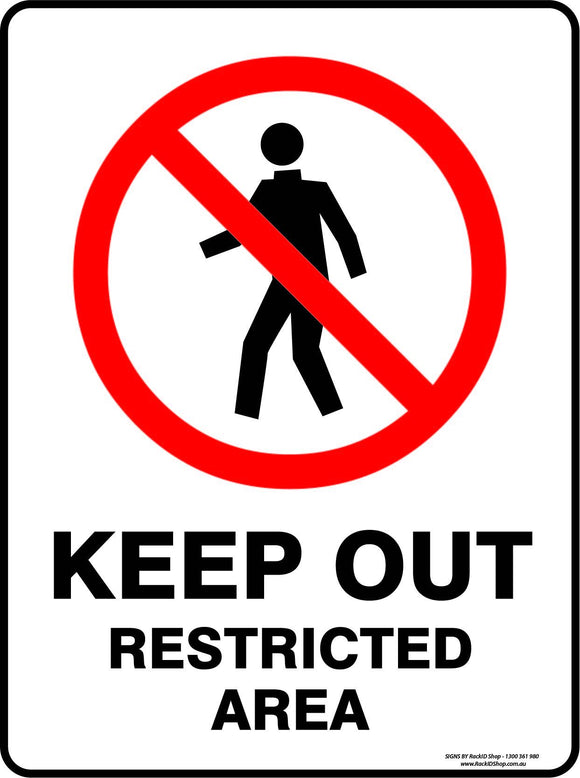 KEEP OUT RESTRICTED AREA OUTDOORS-Signs-RackID Shop
