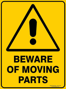 BEWARE MOVING PARTS OUTDOORS-Signs-RackID Shop