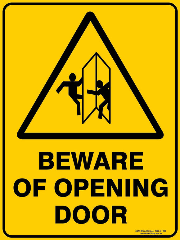 BEWARE OPENING DOOR OUTDOORS-Signs-RackID Shop