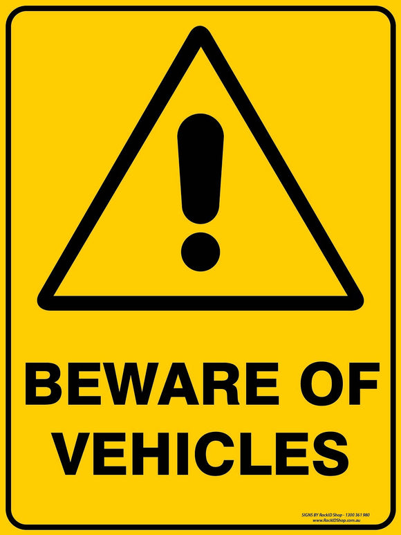 BEWARE OF VEHICLES OUTDOORS - Signs - RackID Shop