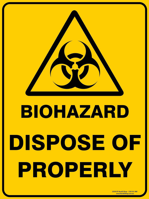 BIOHAZARD DISPOSE OUTDOORS - Signs - RackID Shop