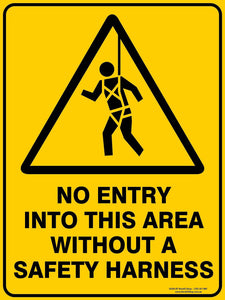 NO ENTRY WITHOUT SAFETY HARNESS OUTDOORS-Signs-RackID Shop