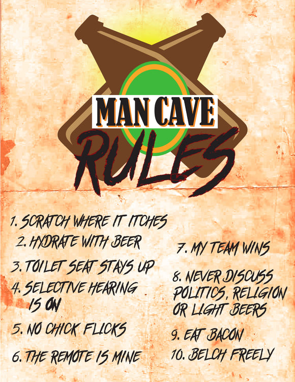 MAN CAVE RULES (BEER)-Man Cave-RackID Shop