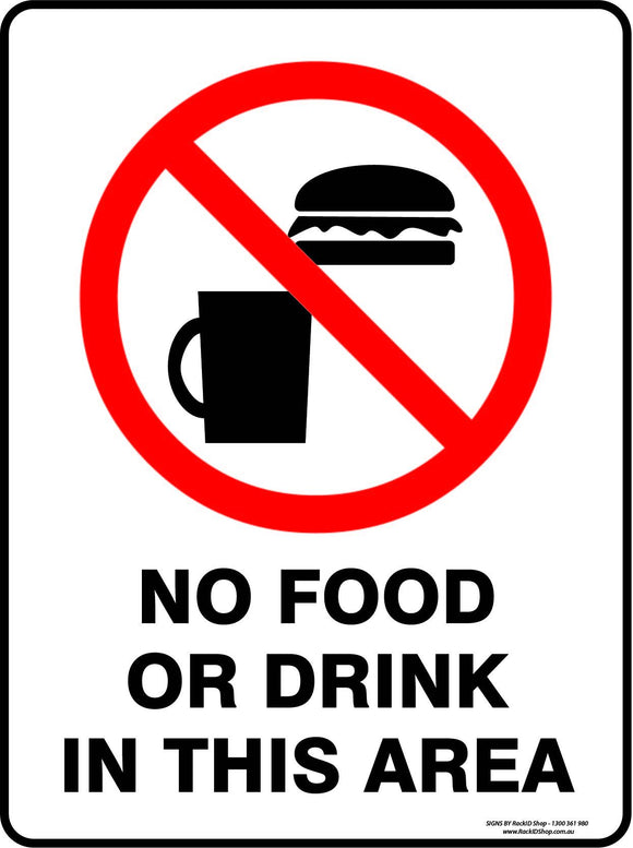 NO FOOD OR DRINK IN THIS AREA-Signs-RackID Shop