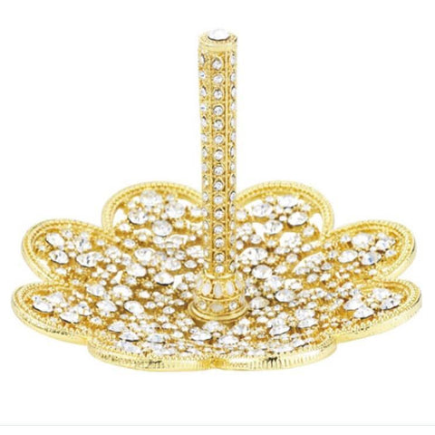 Gold Princess Ring Stand With Crystals