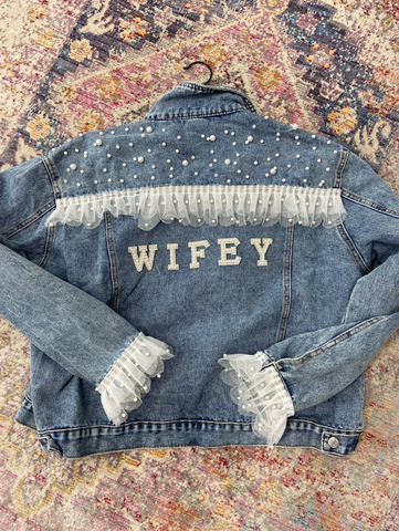 Wifey Pearl Denim Jacket - LE EL New York