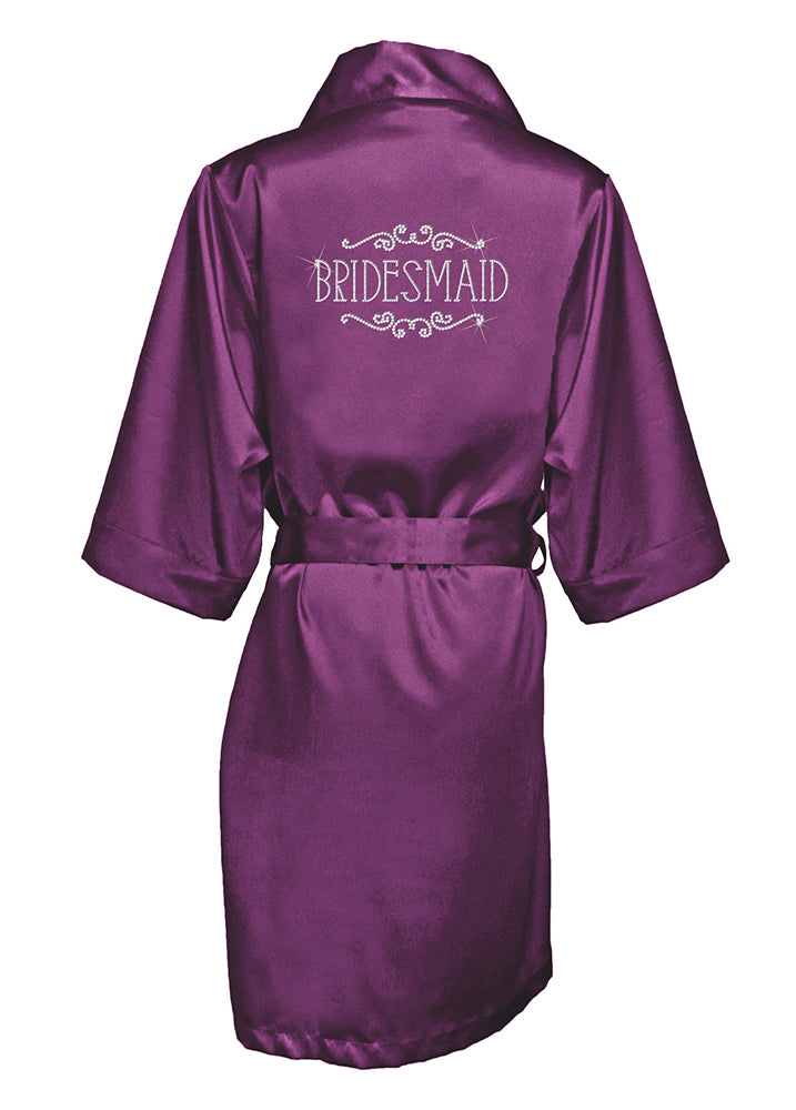 Regal Frame Crystallized Silk Bridal Party Robe - Assorted Phrases