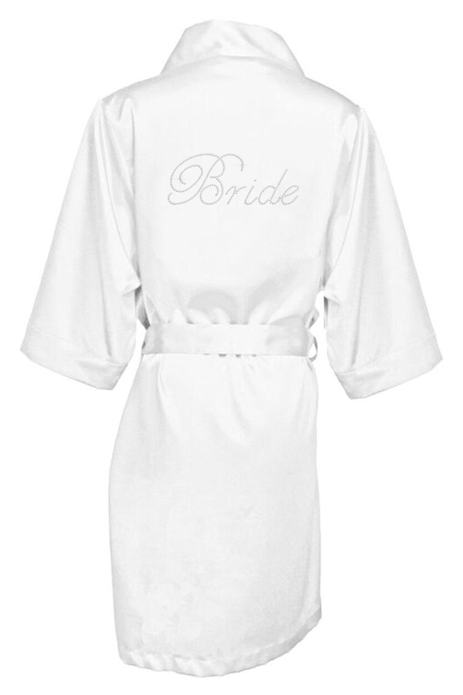Crystallized Silk Bridal Party Robe - Assorted Phrases
