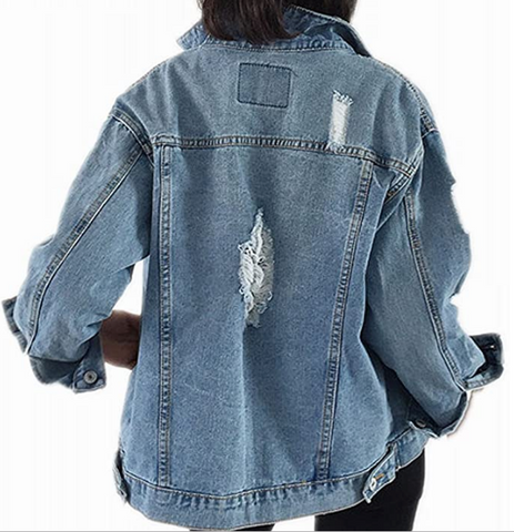 Personalized Distressed Denim Jacket - LE EL New York