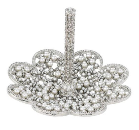 Princess Ring Stand / Pearl and Crystal