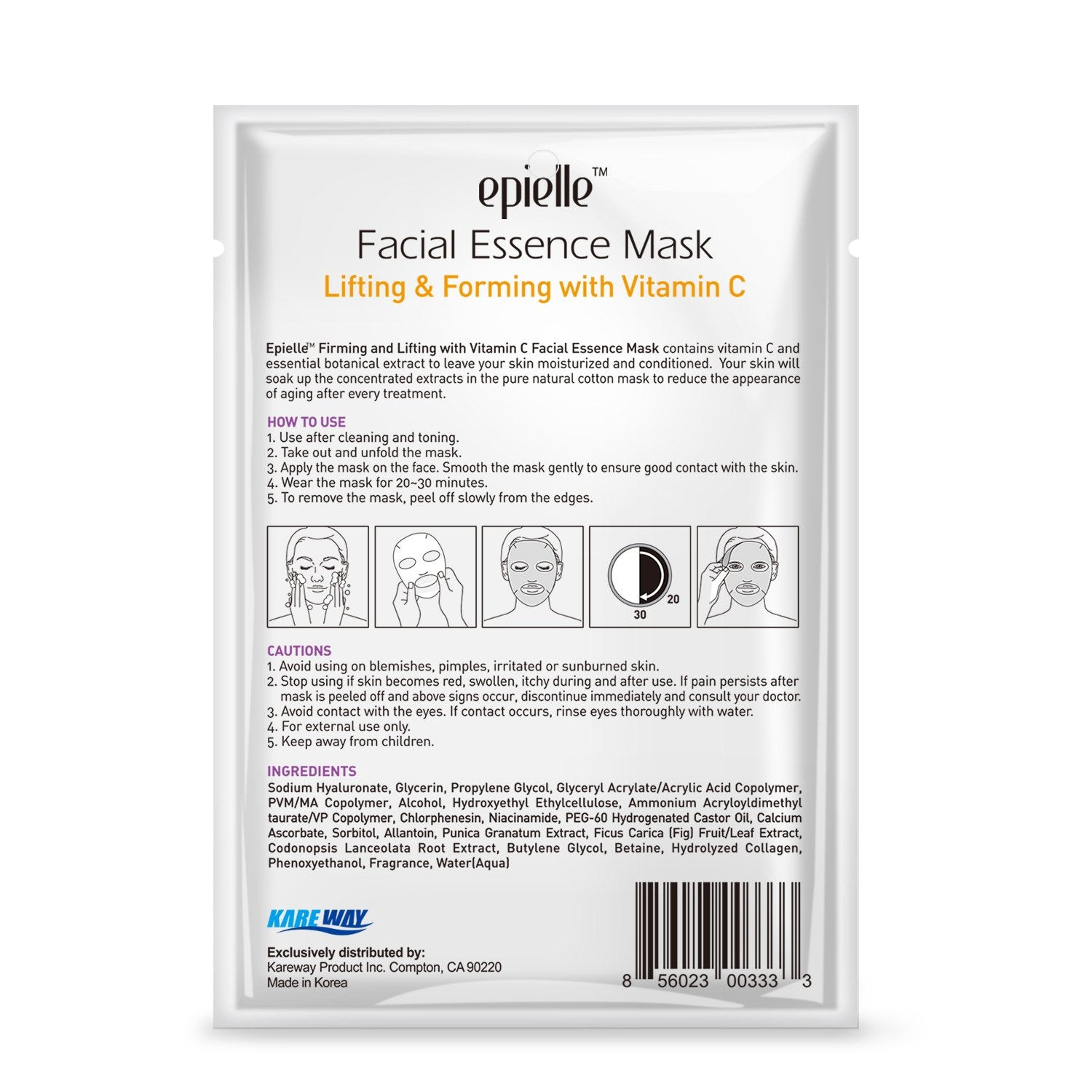 epielle Vitamin C Facial Essence Mask, 1pk