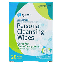 Load image into Gallery viewer, epielle Personal Cleansing Flushable Individual Wipes, 20ct