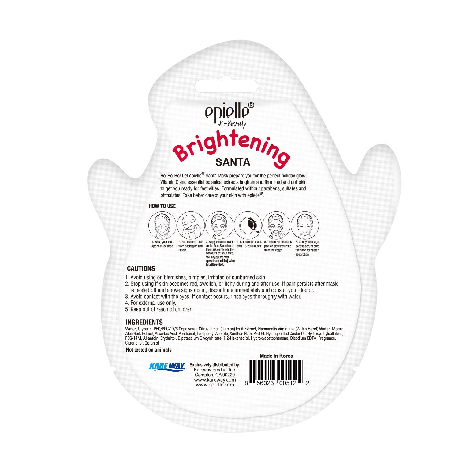 epielle Brightening Santa Character Sheet Mask, 1ct